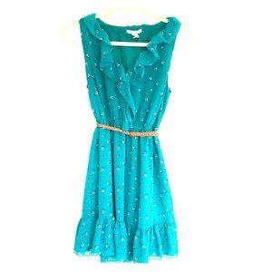☘️3/$30- Green Brown Sleeveless Belted Dress